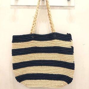 🌿💙🗽NY & Co. 🙌🏼 Striped Straw Bag NWT 💯%